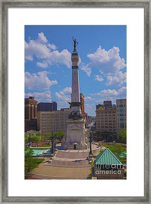 Monument Circle Indianapolis Soldiers And Sailors Monument Framed Print by David Haskett