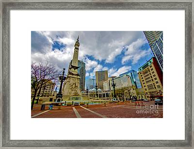 Monument Circle Indianapolis Wide Framed Print