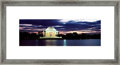 Monument Lit Up At Dusk, Jefferson Framed Print