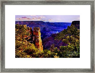 Monument To Grand Canyon  Framed Print by Bob and Nadine Johnston