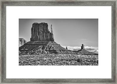 Framed Print featuring the photograph Monument Valley 3 Bw by Ron White