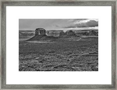 Framed Print featuring the photograph Monument Valley 4 Bw by Ron White
