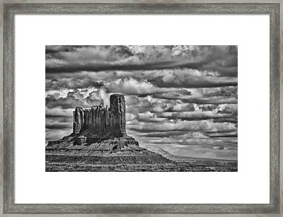 Framed Print featuring the photograph Monument Valley 6 Bw by Ron White