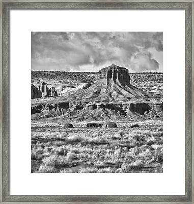Framed Print featuring the photograph Monument Valley 7 Bw by Ron White