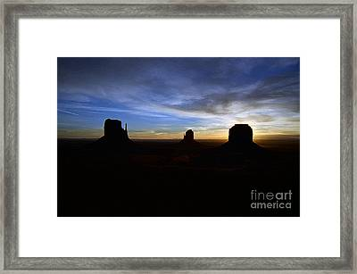 Monument Valley Desert Sunrise And Butte Silhouettes Accented Edges Digital Art Framed Print by Shawn O'Brien