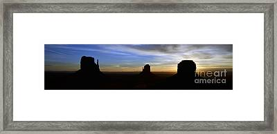 Monument Valley Desert Sunrise And Butte Silhouettes Panoramic Framed Print by Shawn O'Brien
