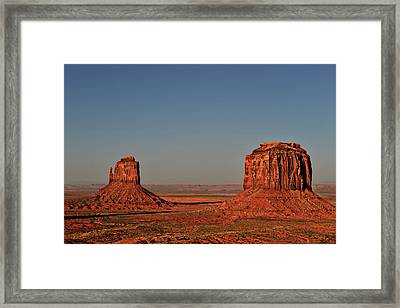 Monument Valley - East Mitten And Merrick Butte Framed Print