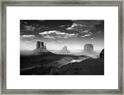Monument Valley In Black And White Framed Print