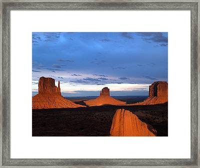 Framed Print featuring the photograph Monument Valley @ Sunset 2 by Jeff Brunton