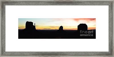 Monument Valley Morning Twilight And Butte Silhouettes Arizona Panoramic Framed Print by Shawn O'Brien