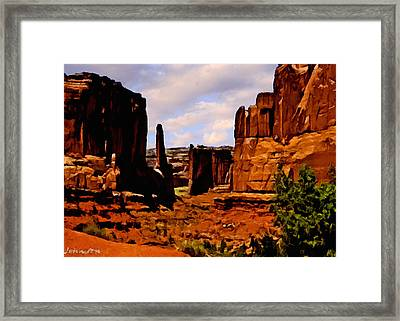 Monument Valley Painting Framed Print by Bob and Nadine Johnston