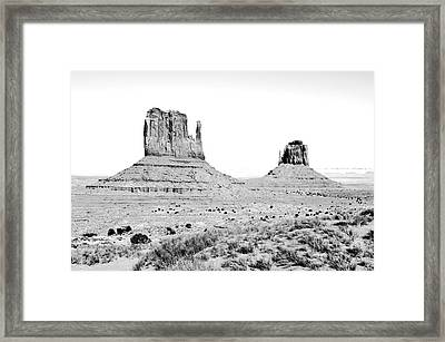 Monument Valley Sanstone Monoliths Aka The Mittens Black And White Conte Crayon Digital Art Framed Print by Shawn O'Brien