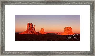 Monument Valley Sunset Pano Framed Print by Jane Rix