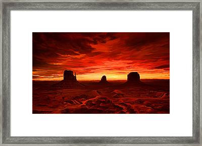 Framed Print featuring the painting Monument Valley Sunset by Tim Gilliland