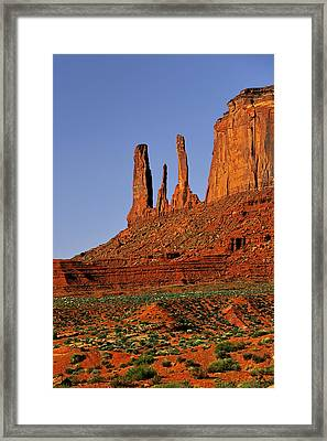 Monument Valley - The Three Sisters Framed Print