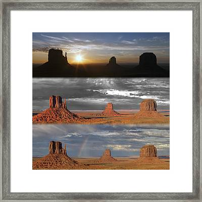 Monument Valley Triptych Framed Print by Patrick Jacquet