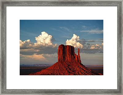 Monument Valley West Mitten And Cotton Clouds Framed Print by Silvio Ligutti