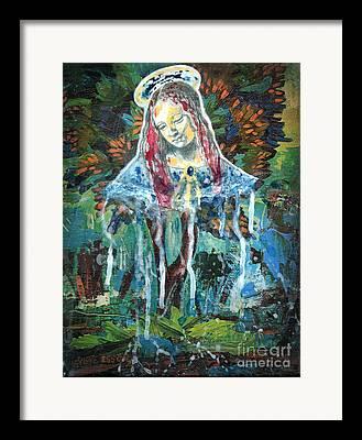 Spiritual Portrait Of Woman Mixed Media Framed Prints