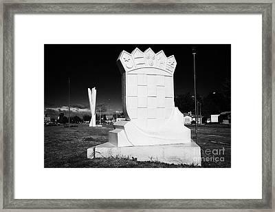 monumento al inmigrante croata croatian immigration monument in front of yugoslavian monument Punta Arenas Chile Framed Print by Joe Fox