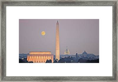 Framed Print featuring the photograph Monuments In Moonlight by Michael Donahue