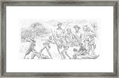 Monuments On The Gettysburg Battlefield Sketch Framed Print