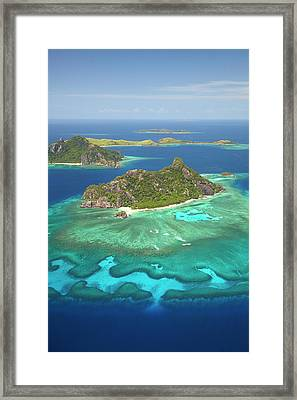 Monuriki Island And Coral Reef Framed Print