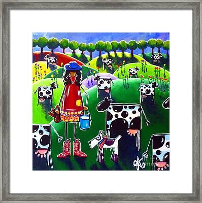 Moo Cow Farm Framed Print by Jackie Carpenter