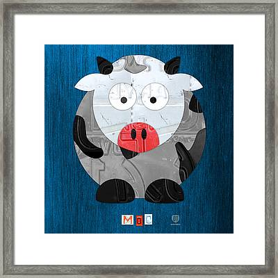 Moo The Cow License Plate Art Framed Print
