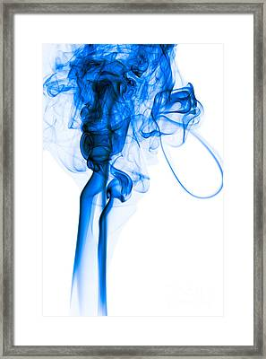 Mood Colored Abstract Vertical Deep Blue Smoke Art 01 Framed Print