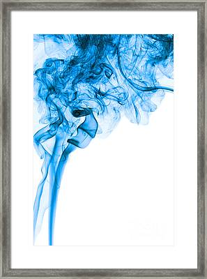 Abstract Vertical Deep Blue Mood Colored Smoke Art 03 Framed Print