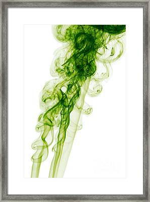Mood Colored Abstract Vertical Green Smoke Wall Art 01 Framed Print