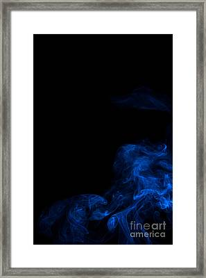 Abstract Vertical Paris Blue Mood Colored Smoke Art 02 Framed Print