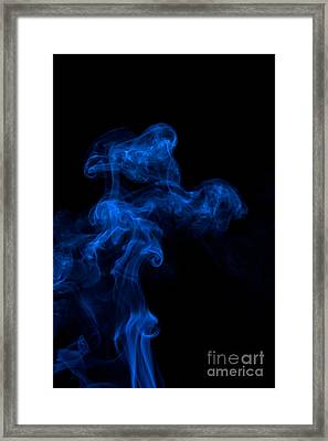 Abstract Vertical Paris Blue Mood Colored Smoke Art 03 Framed Print