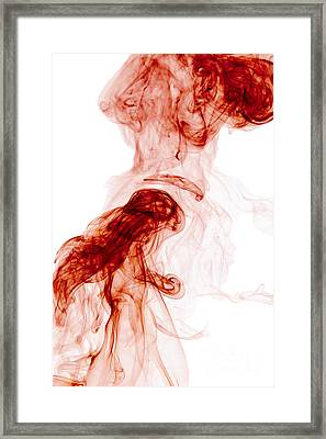 Abstract Vertical Blood Red Mood Colored Smoke Wall Art 02 Framed Print