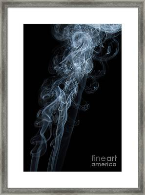 Abstract Vertical White Mood Colored Smoke Wall Art 01 Framed Print
