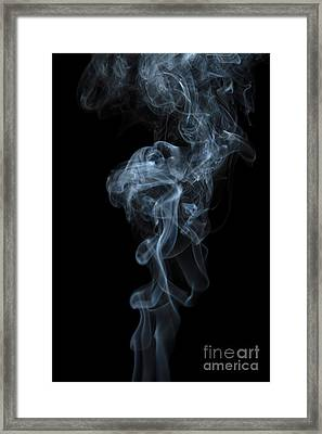 Abstract Vertical White Mood Colored Smoke Wall Art 03 Framed Print