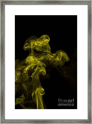 Abstract Vertical Yellow Mood Colored Smoke Wall Art 02 Framed Print