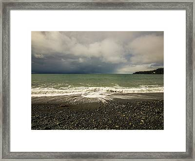 Moody Swirl French Beach Framed Print by Roxy Hurtubise