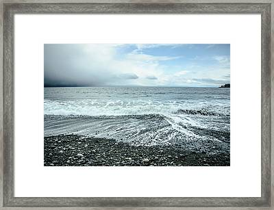 Moody Waves French Beach Framed Print by Roxy Hurtubise