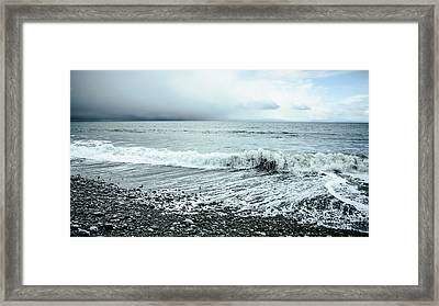 Moody Shoreline French Beach Framed Print by Roxy Hurtubise