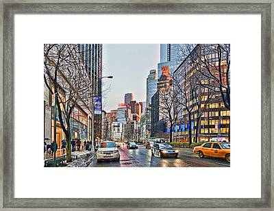 Moody Afternoon In New York City Framed Print