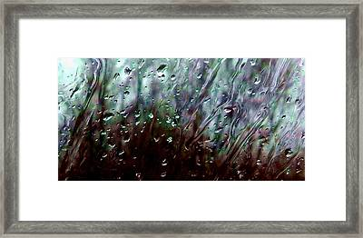 Framed Print featuring the photograph Moody Blues Rain On The Window Series 2 Abstract Photo by Marianne Dow
