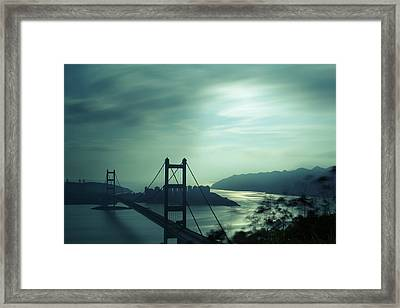 Framed Print featuring the photograph Moody Bridge by Afrison Ma
