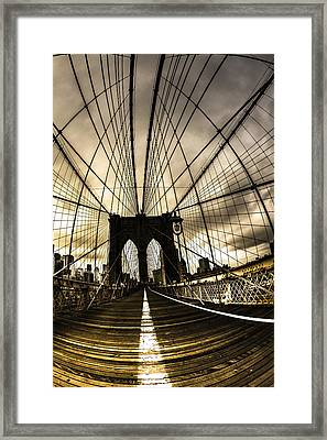 Moody Brooklyn Bridge Framed Print by Chris Halford