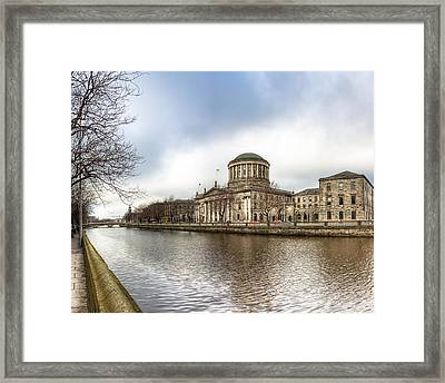 Moody Winter Day On Inns Quay In Dublin Framed Print by Mark E Tisdale