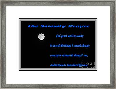 Moon - Serenity Prayer - Blue Framed Print