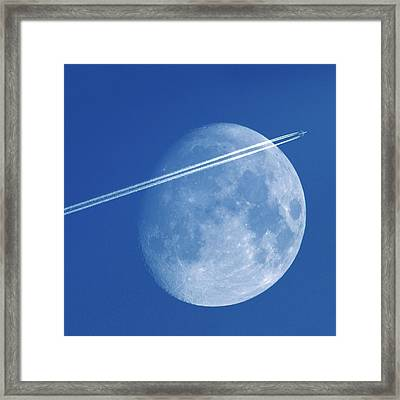 Moon And Aeroplane Contrails Framed Print by Detlev Van Ravenswaay