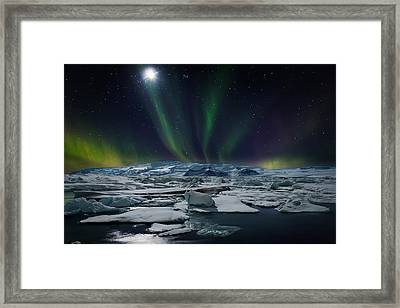 Moon And Aurora Borealis, Northern Framed Print by Panoramic Images