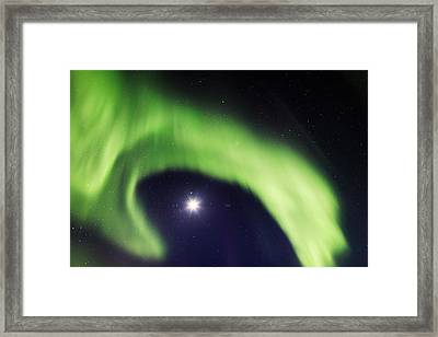 Moon And Aurora Borealis Or Northern Framed Print by Panoramic Images
