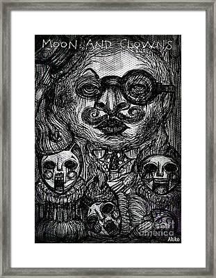 Moon And Clowns Framed Print by Akiko Okabe